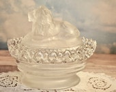 Stunning Lion Lidded Dish, Imperial Glass Attrbury Satin Linen, Crystal Clear Dish W Satin Bottom, Lion on Nest, Lacey Glass, Rare