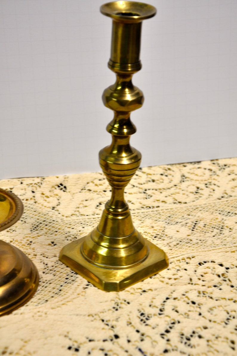 Wonderful Gift Pillar Set /& One Candleholder wSafety Spike 3 Solid Brass Candlestick Holders Lot of 3 Collectible, Beautiful Decor