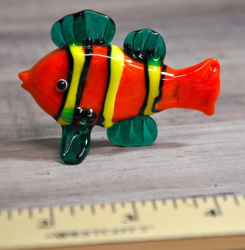 """Blown Glass Figurine /""""Murano/"""" Art Yellow and Black CLOWN FISH"""