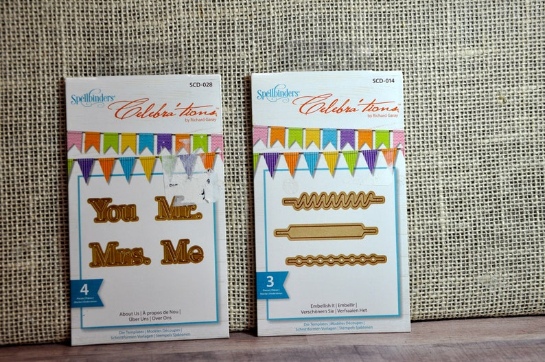 New - Set of 2 (Two) Spellbinders Dies - Celebrations- You Me, Mr  Mrs  AND  Embellish It- Perfect for Wedding and Event Crafts, Collectible