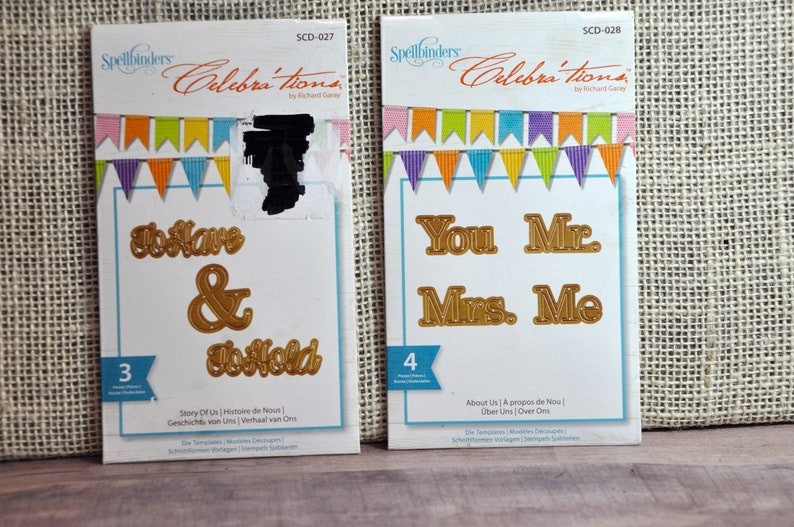 New - Set of 2 (Two) Spellbinders Dies - Celebrations To Have & To Hold,  and You Me, Mr  Mrs  - Perfect for Wedding Crafts, Collectible