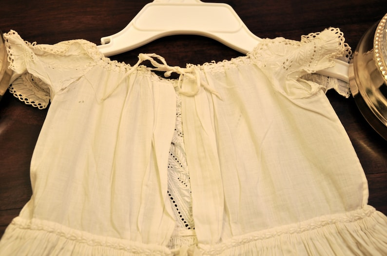 Antique Christening Gown Very Long 44 English With Tucks and Broderie Anglaise Hand Needlework