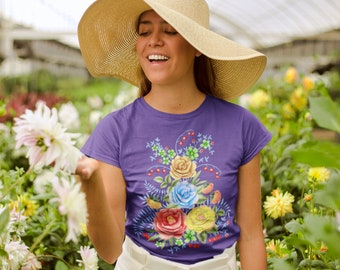 Botanical Print T-Shirt Gift for Her Lilies Asters Floral T-Shirt Watercolor Bouquet Vintage Art Print Tee for Women