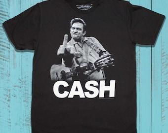f9faa40c9 Johnny Cash T-Shirt, American Rebel Finger Photo Tee, Classic Rock Singer  Shirt for Men and Women