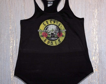 5493b15a Guns N' Roses Tank Top for Women, Distressed Bullet Logo Print, Legendary Rock  Band Tank Top, Perfect for Concerts, Yoga & Fitness Workout