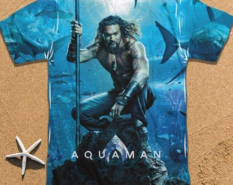 big sale d95ed 257ba Jason Momoa T-Shirt, Aquaman Poster T-Shirt, Best Gift for Any Occassion,  Great All Over Print T-Shirt for Adults, Juniors, Boys and Girls