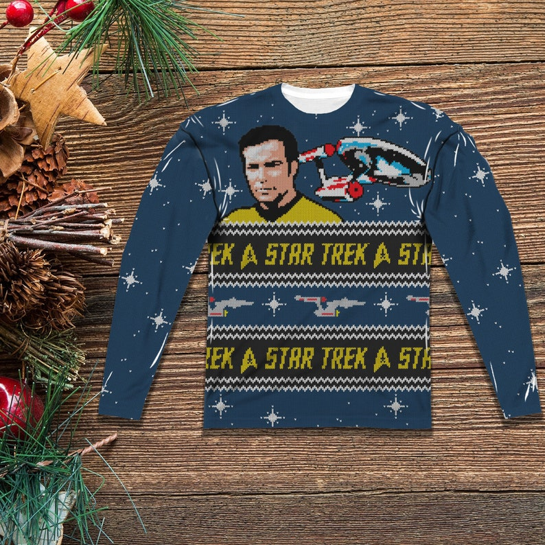 2324b392439 Star Trek Christmas Sweater for Men and Woman Front and Back