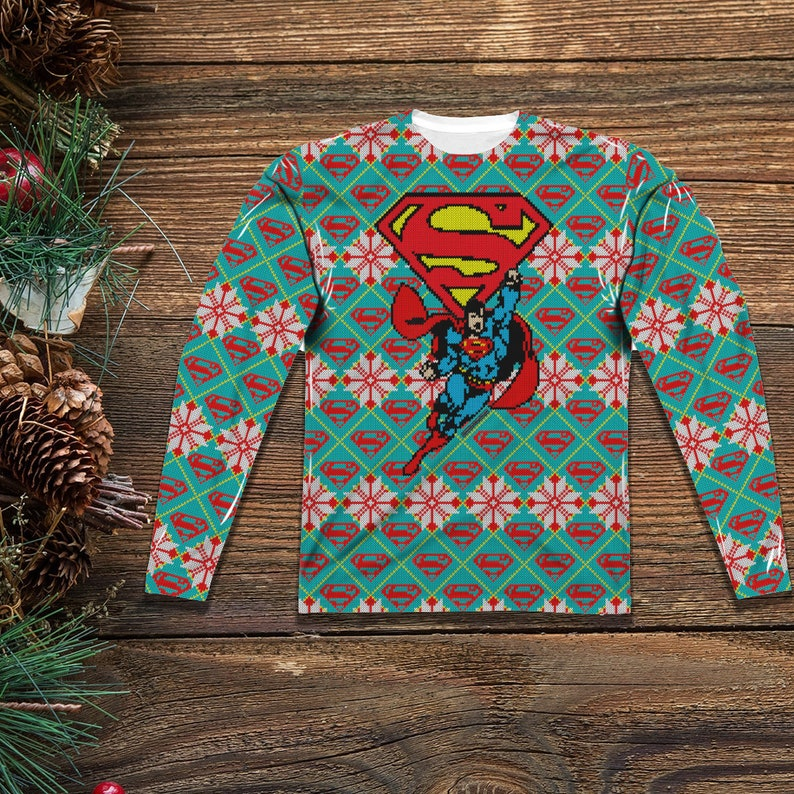 8a7eac71518 Superman Ugly Christmas Sweater Tee for Men and Women Front