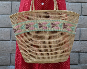 Wicker Tote, Woven Bag, Wicker Bag with String Weaving, Market Bag