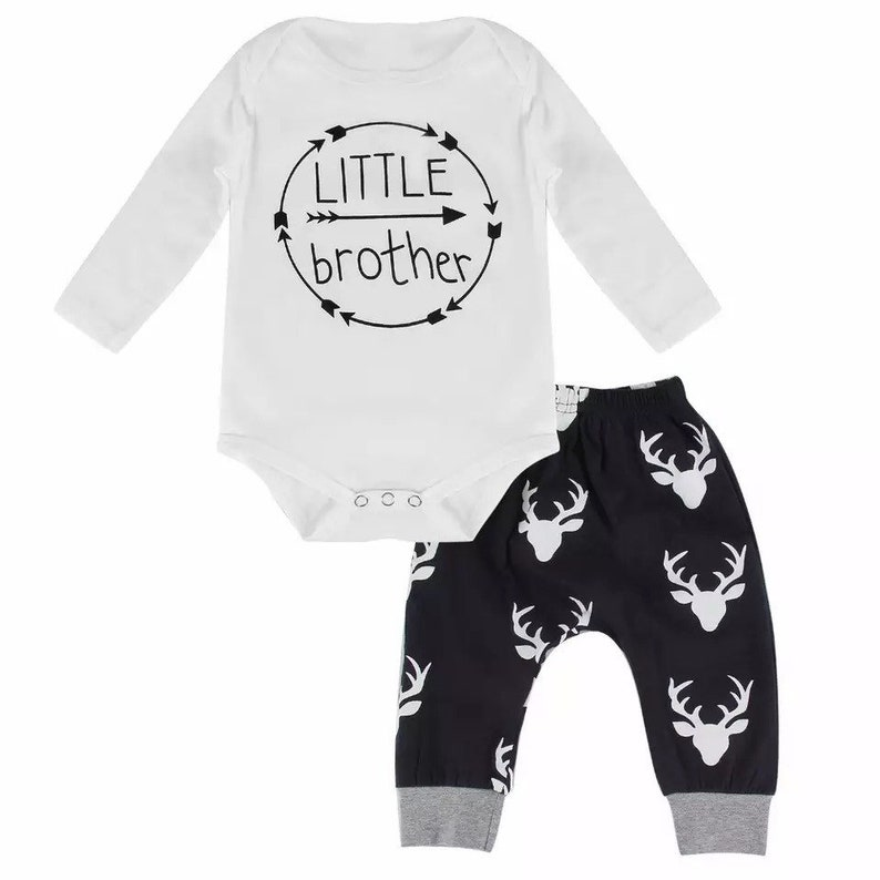 Deer Navy Baby Boys Little Brother 2 piece set christmas Holiday Baby Toddler Kids jogging Set