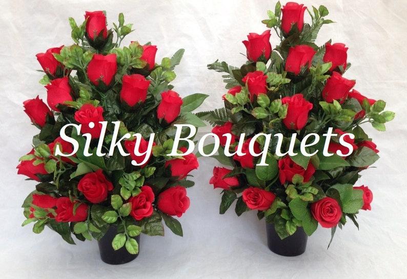 Artificial Silk Flower Grave Pot Flat Back Memorial Arrangement Pot