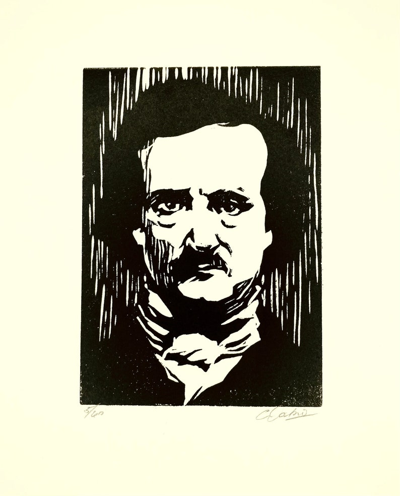 Printed signed and numbered by the artist. Edgar Allan Poe \u2013 Original handmade B/&W linocut limited edition print of famed writer