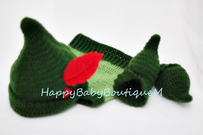 Newborn Photo Prop Hat with Feather Pants Shoes Baby Boy Pictures Peter Pan Costume Set of 3 pcs Green Boy Oufit