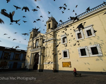 Feeding the birds at the Monastery of San Francisco in Lima, Peru