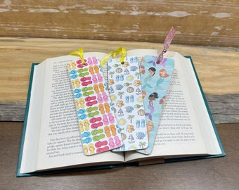 Beachy Mermaid Handmade Bookmarks, Book Covers Bookmark Set