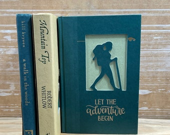 Hiker Book Art, Wanderlust Nature Lover Gift, Mountain Hiking