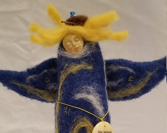 She Believed She Could Fly So She Did -Needle felted art doll angel