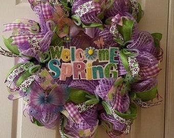 Welcome Spring Wreath, Home Decor, Handmade Wreath Crafts, Handmade Door Wreaths