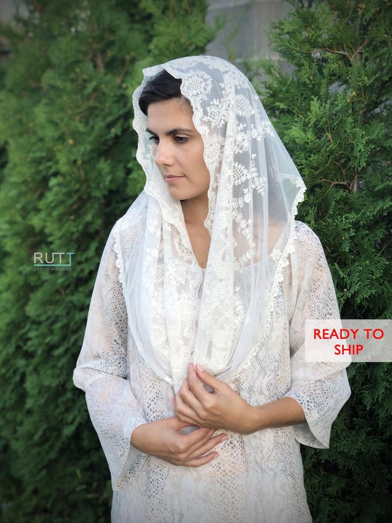 Ivory Infinity Church head covering Lace veils Catholic veil Church or Chapel veil mantilla scarf