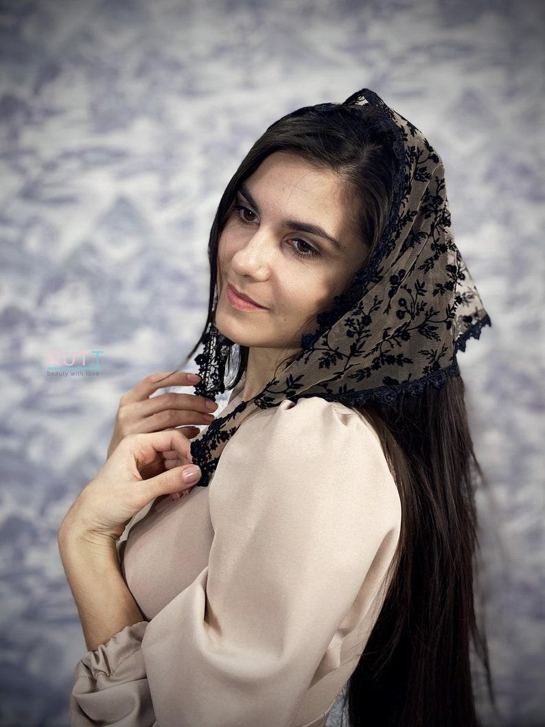 Capuccino black velvet pattern triangle kerchief Head covering Head wrap Orthodox veil Catholic veil Church or Chapel veil mantilla