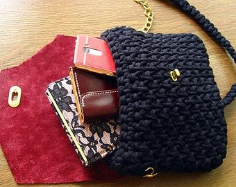 Hand knitted bag, chunky knit bag, knitted bag for girl, t shirt yarn bag, crochet bucket bag, summer knit bag, Crosody bag, сумка из пряжи