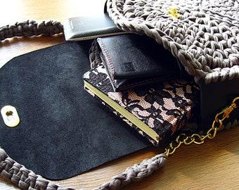 Bag of knitted yarn, crossbody bag,  Handmade bag of knitted yarn,  hand knitted tote, knitted shoulder bag, eco bag, knitted bags