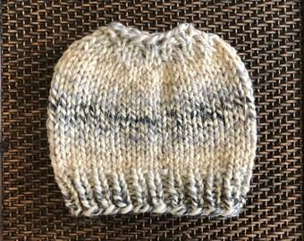 Ready To Ship: Messy Bun Hat, Knit Ponytail Beanie, Cream Gray Black Adult Size