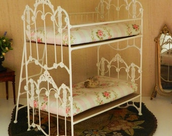 """Artisan Made 1:6 Playscale, Barbie Scale Wrought Iron Look Bunk Bed """"Marigold"""""""