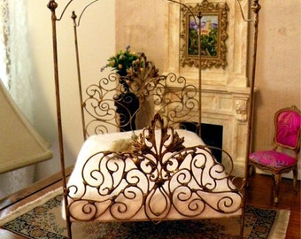 """Artisan Made 1:6 Playscale, Barbie Scale Wrought Iron Look Canopy Bed """"Tiara"""""""