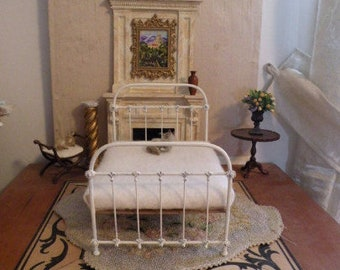 """Artisan Made 1:6 Playscale, Barbie Scale Wrought Iron Look Bed """"Leah"""""""