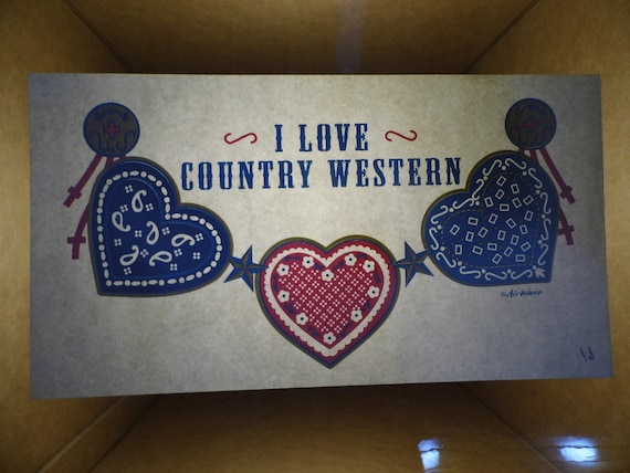 Vintage I Love Country Western heat transfer