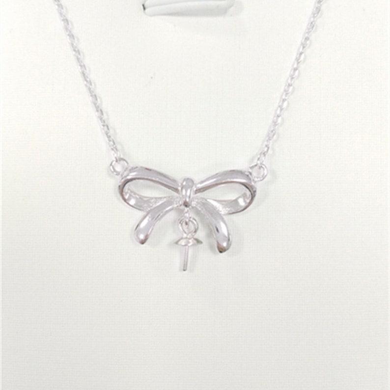 Bow Necklace Setting Handmade Necklace Base . Silver Necklace Holder S925 Sterling necklace Setting Diamond-inlaid Pendant Base