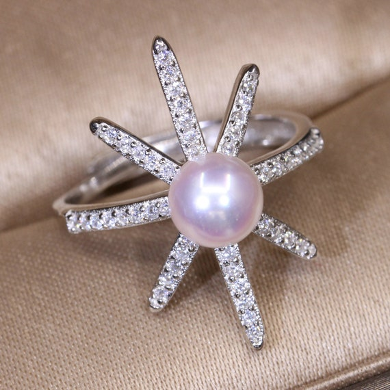 Open Ajustable ring Pearl-inlaid Ring Base DIY Jewelry. Handmade Ring Base,Wedding Ring Double Pearl Ring Setting Silver Ring Holder