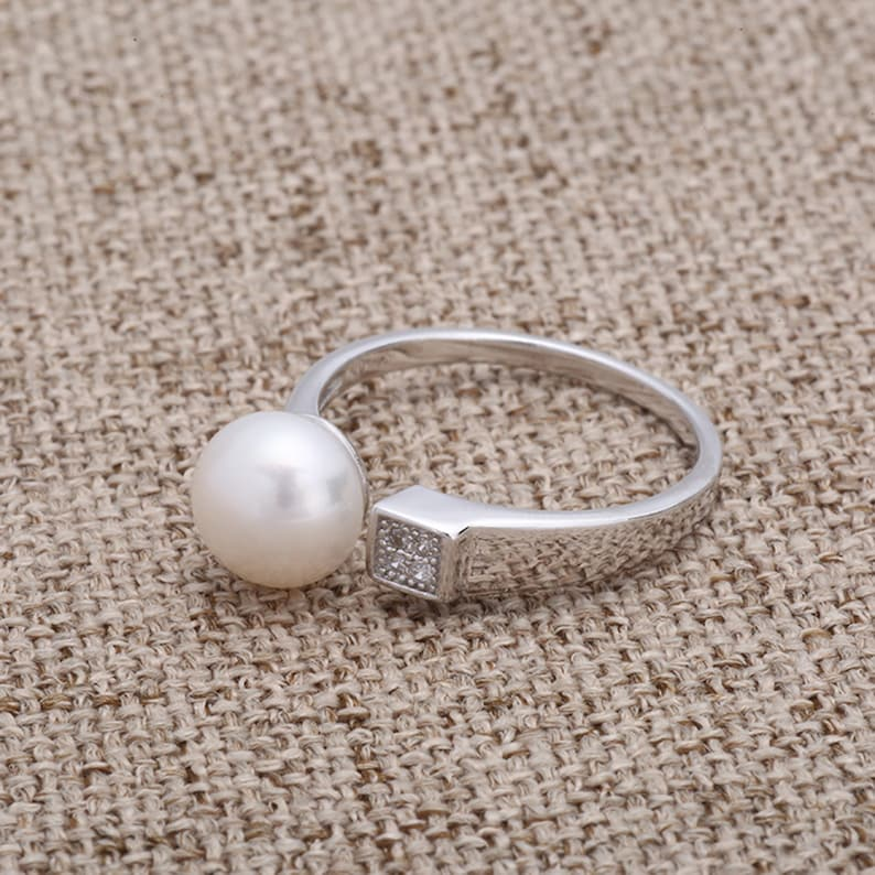 Minimalist Ring Base Diamond-Inlaid Pearl Ring,Silver Ring Engagement Ring,For DIY Jewelry,Ring For Her. S925 Sterling Silver Ring Setting
