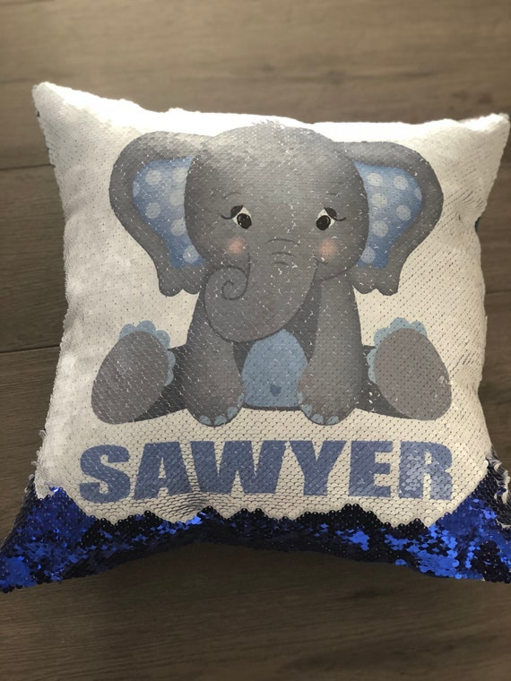 Personalized Elephant Sequin Flip Pillow Including Insert Etsy