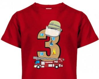 Three 3 Fire Brigade Birthday - Kids T-Shirt