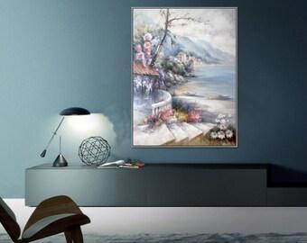 "Garden on sea oil painting 36x48""/90x120cm"