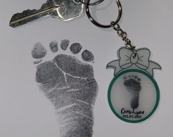 2 Inch Keepsake Children's Hand or Foot Print Key Chain.