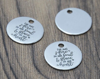 10pcs//lot She Has Fire In Her Soul and Grace In Her Heart Charm pendant 20mm