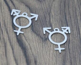 5pcslot Transgender Pride charm identities non Binary lgbt Trans Pride Stainless steel Charm pendant 25x20mm