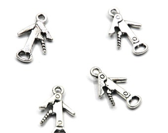 12 Bottle opener charms antique silver tone FD33