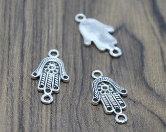 30pcs Hamsa Hand charms silver tone Hamsa Hand connectors pendants 25X13mm