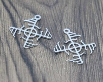 5pcs//lot Mitsu Tomoe charm Mitsu Tomoe Stainless steel Charm pendant 28x25mm