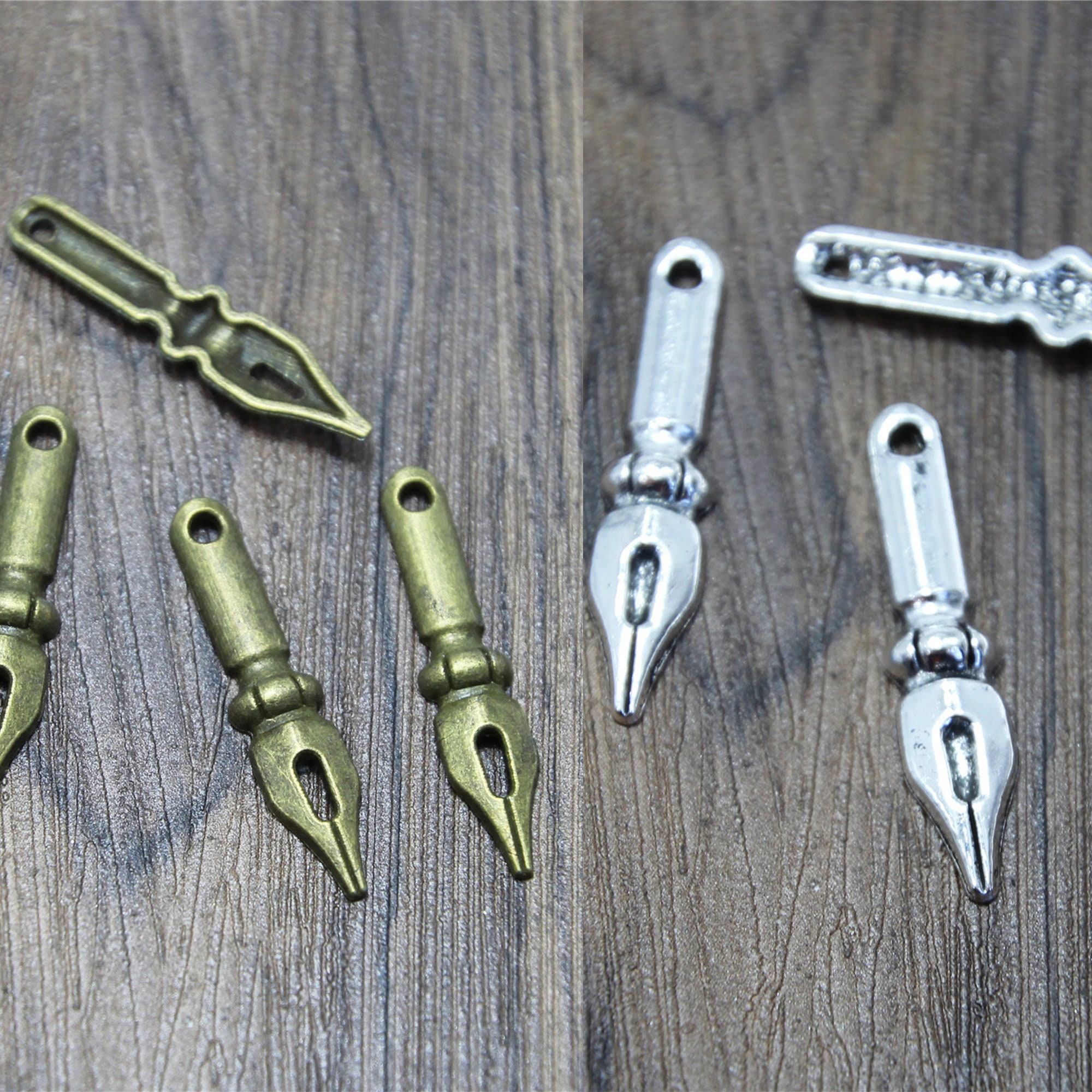 30pcs--anqutie Silver tone rectangle cabochon bail connectors pendant 21x6mm