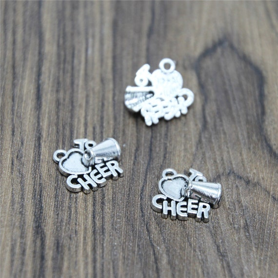 3 x Tibetan Silver I Love Cheer Leading Charm Pendant Jewellery Making