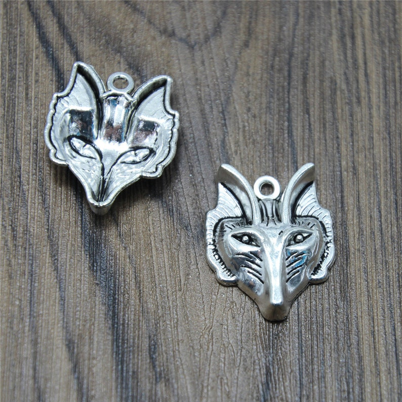 6pcs Wolf Charms bronze tonesilver tone Thick Wolf Head Charms Pendant  31x24mm