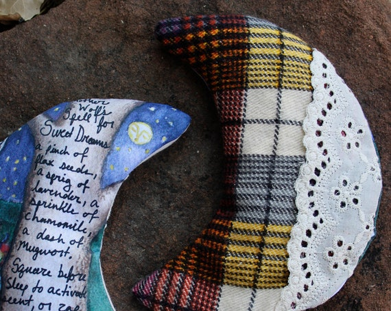 Dream Pillow, Sachet, Crescent Moon, Stocking Stuffer, Fiber Art, Aromatherapy, Lavender, Chamomile, Mugwort, Witchcraft, Moon Art,