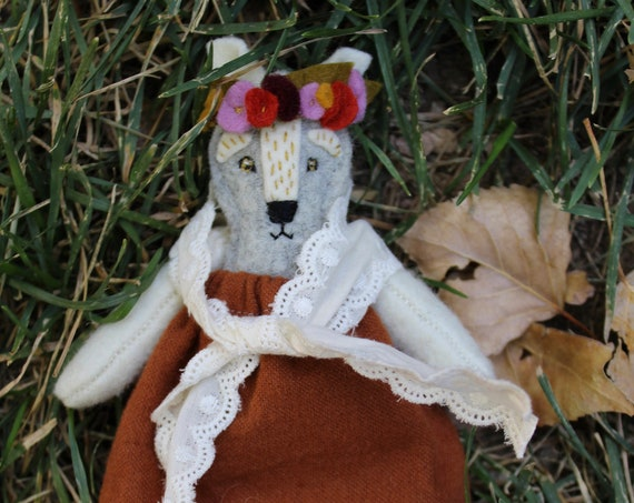 Wolf Doll, Pocket Doll, shewolf Doll, Heirloom Doll, Rag Doll, Woodland Doll,  Rustic Dress Up Doll,  Wolf Toy, Waldorf, Nature Based