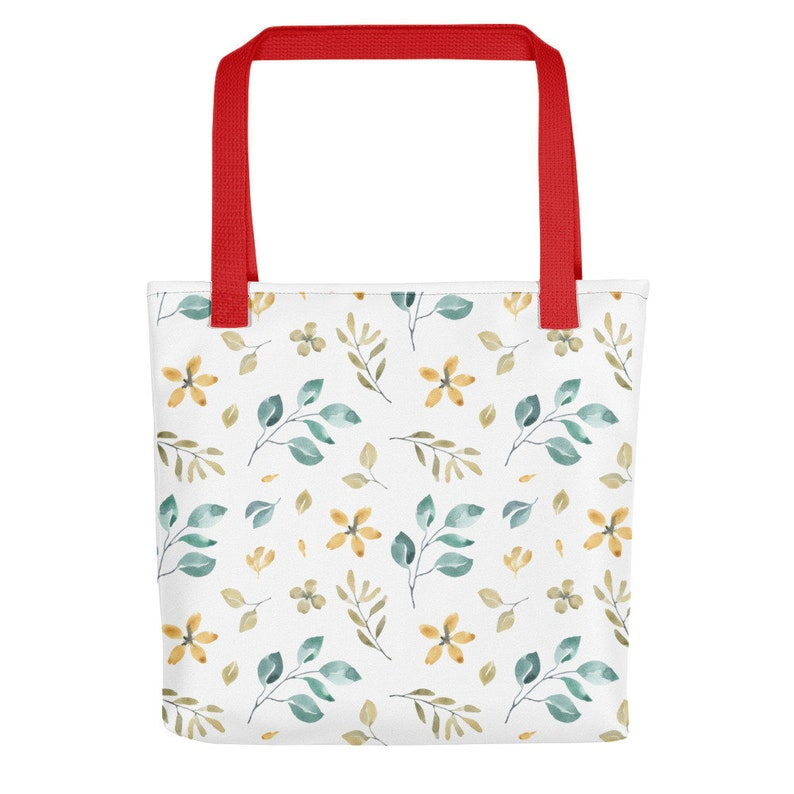 Cute Blue and Yellow Floral ladies womens flowers multi purpose Tote bag