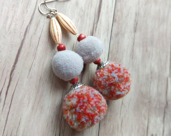 Pom Pom Earrings, Earthy Boho Dangle Earrings, Statement Earrings, Bohemian Earrings